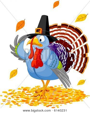 Illustration of a Thanksgiving turkey with pilgrim hat poster