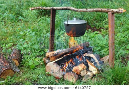 Kettle (pot) On The Campfire.