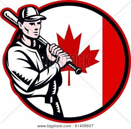 Canadian Baseball Batter Canada Flag Circle