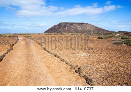 Trail And Volcano On Island Of Los Lobos In The Canary Islands