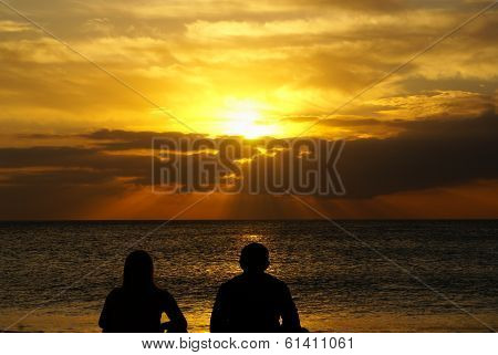 happy retired couple on the beach .Spain. Europa. poster