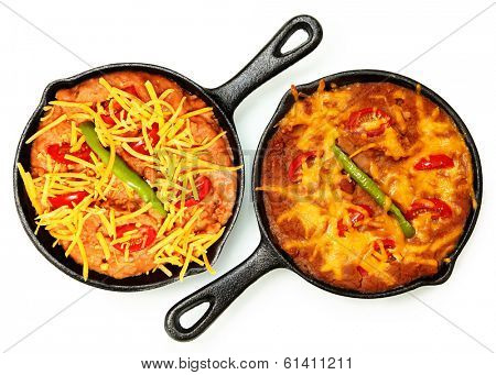 Skillet Refried Beans with Hot Peppers, Cherry Tomatos and Cheddar Cheese over white. Before and After Baked.