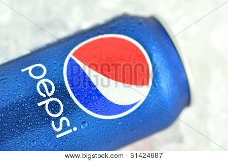 Can of Pepsi drink on ice