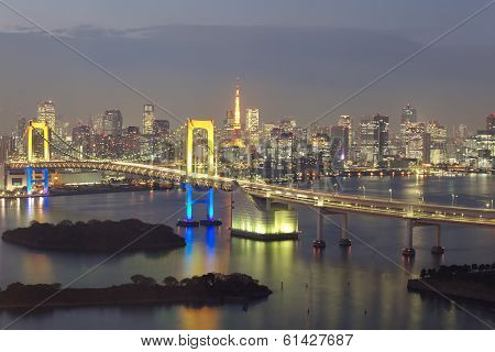 view of Tokyo bay and tokyo city with rainbow bridge and tokyo tower