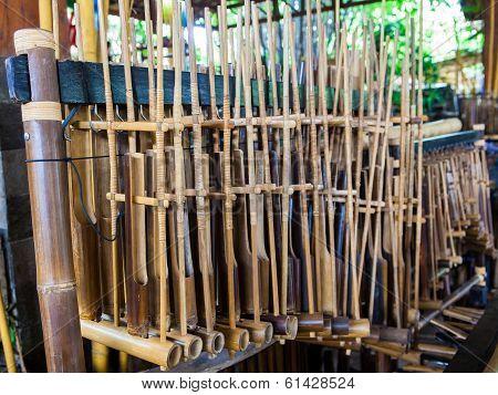 Sets of Angklung Wood Music Instrument at Saung Udjo Bandung