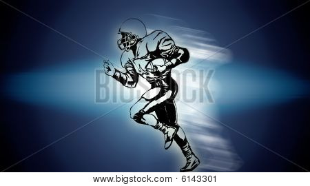 American rugby player running on blue background poster