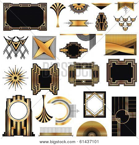 Art Deco Vintage frames and design elements - with place for your text - in vector poster