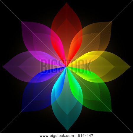 Blend Multi Gradient flower Vector Illustration AI poster