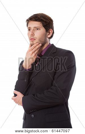 Thoughtful Man On Isolated View
