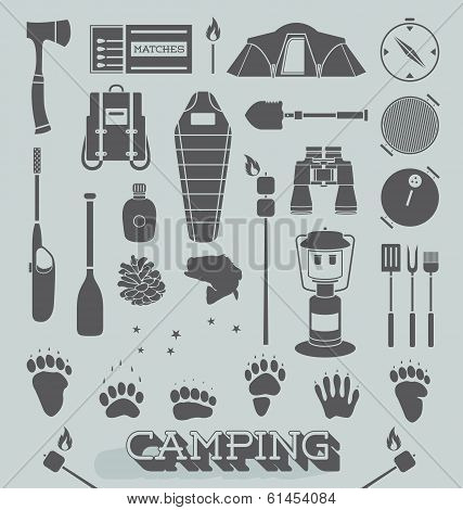 Vector Set: Camping and Outdoors Icons and Symbols