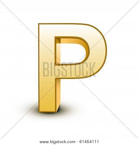3D Golden Letter P