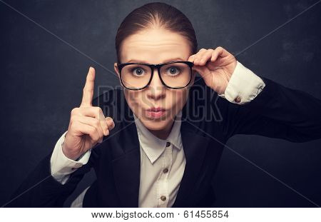 Funny Strict Teacher With Glasses Shakes His Finger