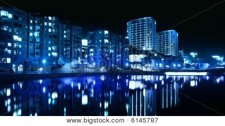 City Blue Nightline By The Water
