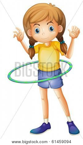 Illustration of a young girl playing with the hula hoop on a white background