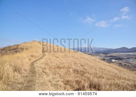 Top Of Saebyeol Volcanic Cone In Jeju Island