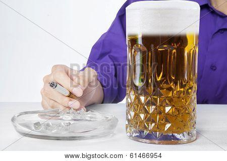 Man Drinking And Smoking