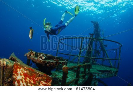 Free diver gliding in the depth near ship wreck poster