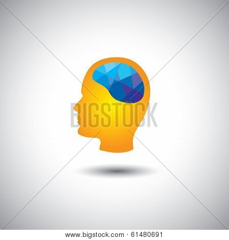 Vector Concept - Human Brain & Face Showing Creativity, Brilliance