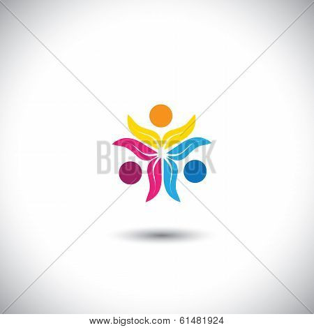 colorful eco people together in unity - concept vector icon. This graphic in circle also represents unity solidarity teamwork friendship etc poster