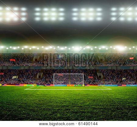 Soccer ball on the field of stadium with light  poster