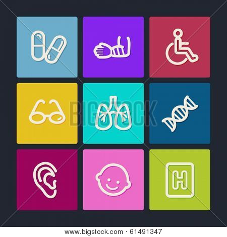 Medicine web icons set 2, color buttons