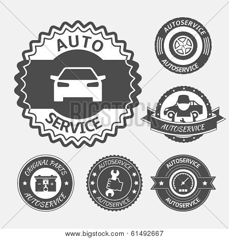 Car auto service labels badges emblems set isolated vector illustration poster