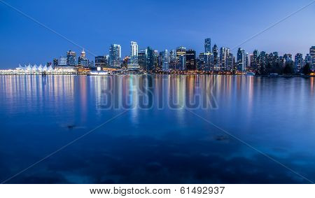Vancouver city lights from Stanley Park
