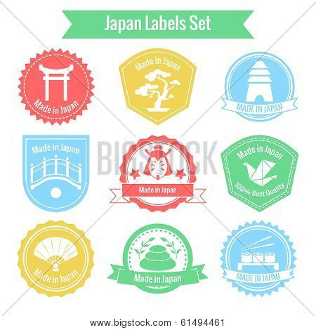 Made in Japan labels or badges set isolated vector illustration poster