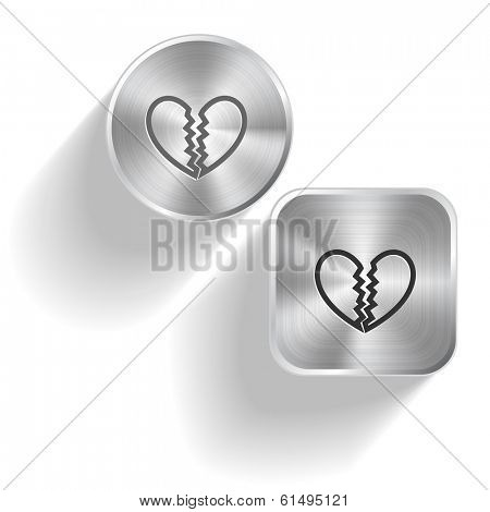 Unrequited love. Vector set steel buttons