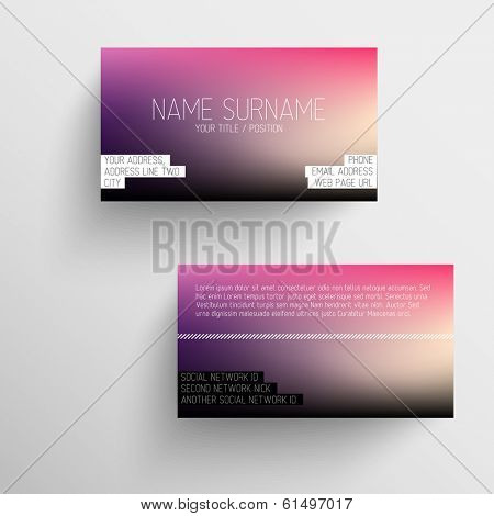 Modern business card template with blurred background and white text