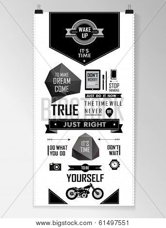 Modern black Quote infographic  Background, typography. This is file of EPS10 format. poster