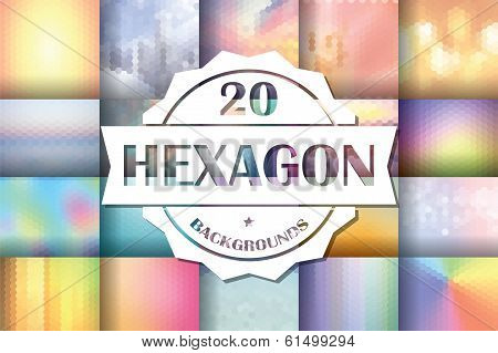 Collection of 20 abstract hexagon backgrounds, vector illustration poster