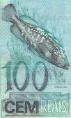 detail of the garoupa (Epinephelus lanceolatus) 100 real banknote from brazil poster