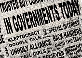 A collage of all the usual headline words associated with any government anywhere. poster