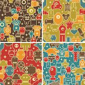 Set of seamless patterns with robots, monsters and other creatures. Vector repeating backgrounds. poster