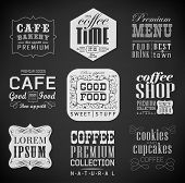 Retro bakery label coffee shop cafe menu design elements chalk calligraphic drawing with chalk on blackboard poster