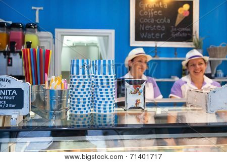 DUBROVNIK, CROATIA - MAY 26, 2014: Gossip ice cream shop on main street Stradun. It is one of the best ice cream place in town popular among tourists.