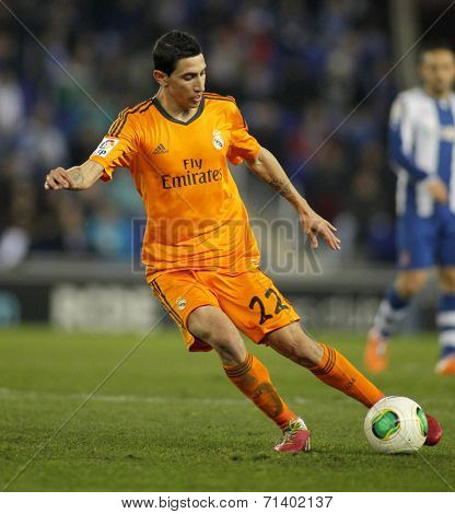 BARCELONA - JAN, 21: Angel Di Maria of Real Madrid during the Spanish Kings Cup match between Espanyol and Real Madrid at the Estadi Cornella on January 21, 2014 in Barcelona, Spain