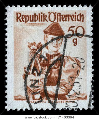 AUSTRIA - CIRCA 1949: A stamp printed in Austria shows woman in national dress, Vorarlberg, Bregenzer Forest, circa 1949
