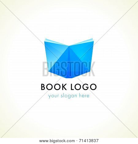 Open facet stained-glass blue book logo. Internet educational, reading and learning branding sign. Online book store or publishing house icon. eBook library or literary club's symbol.