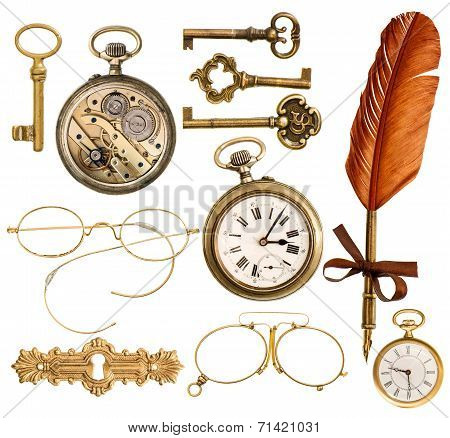 Set Of Golden Antique Objects. Old Keys, Clock, Ink Feather Pen