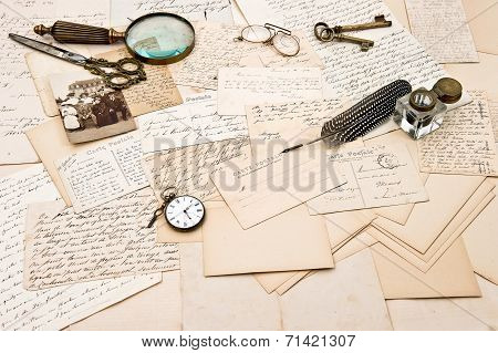 Old Letters, Postcards, Photo Of A Family. Collectible Goods. Ephemera