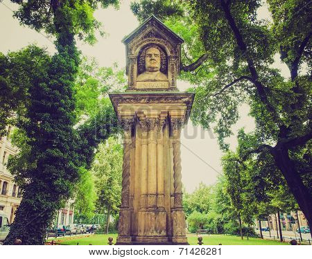The Altes Bach Denkmak meaning Bach old monument close to the St Thomas Church is the world oldest monument to Johann Sebastian Bach donated by Felix Mendelssohn Bartholdy in 1843 in Leipzig Germany poster