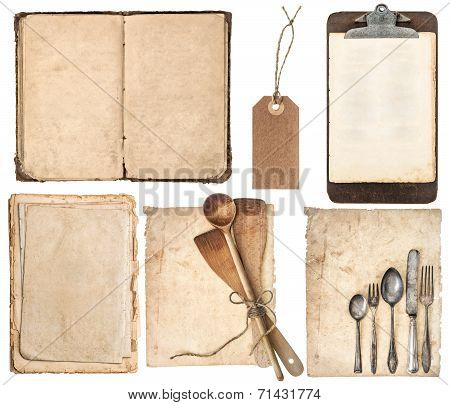 Kitchen Utensils, Old Cookbook, Pages And Clipboard