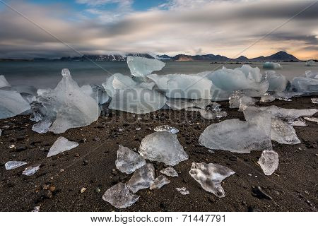 Ice on the Arctic beach