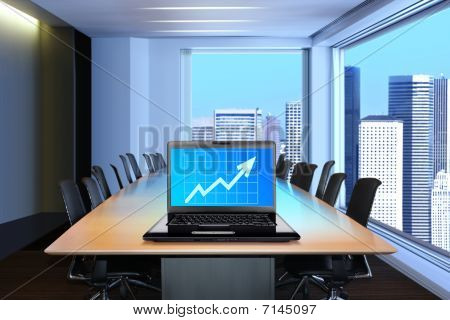 Laptop In Meeting Room