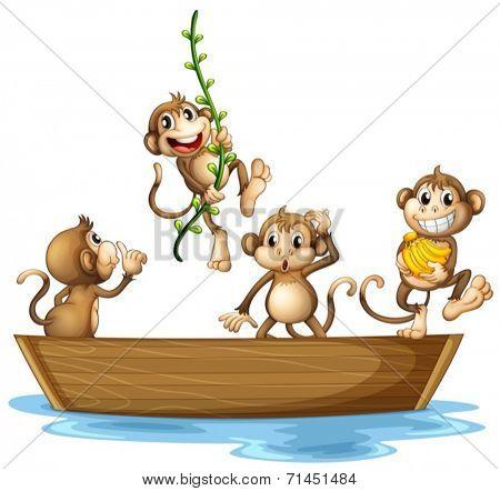 Illustration of many monkeys on a boat