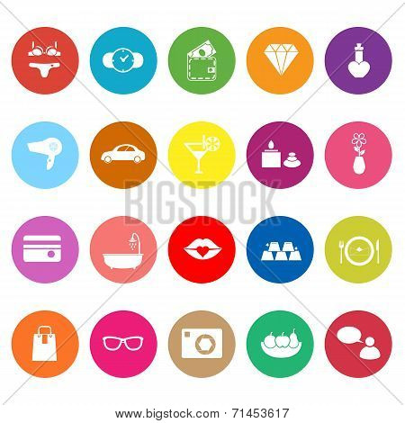 Lady Related Item Flat Icons On White Background