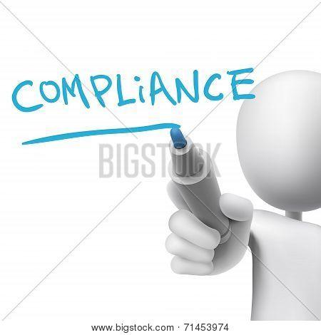 Compliance Word Written By 3D Man