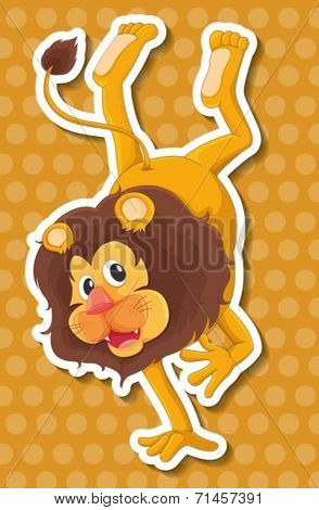 Illustration of a lion with yellow polkadot background